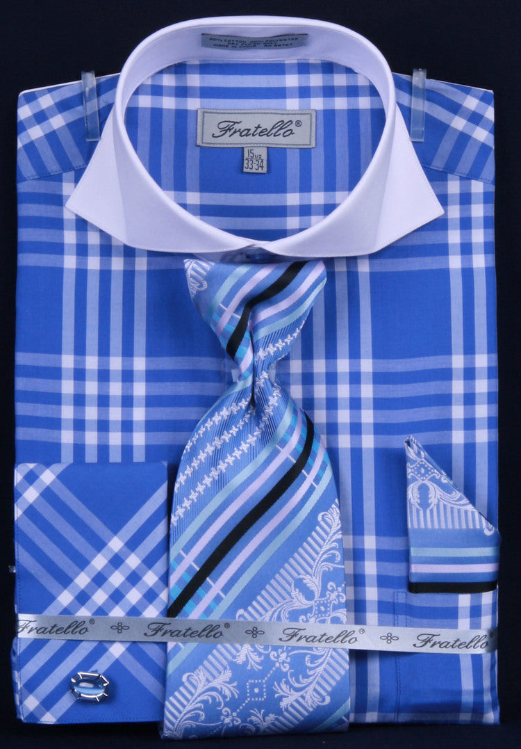 Fratello French Cuff Dress Shirt FRV4118P2 Royal