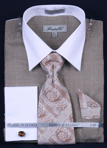 Fratello French Cuff Dress Shirt FRV4121P2 Brown