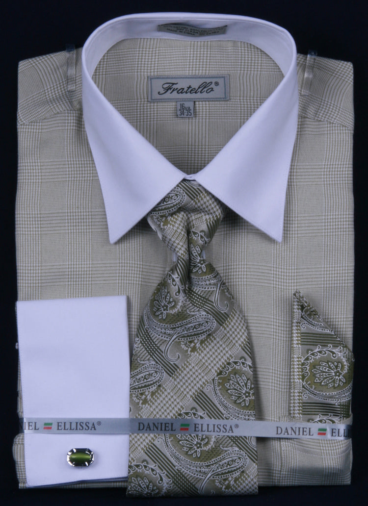 Fratello French Cuff Dress Shirt FRV4121P2 Olive