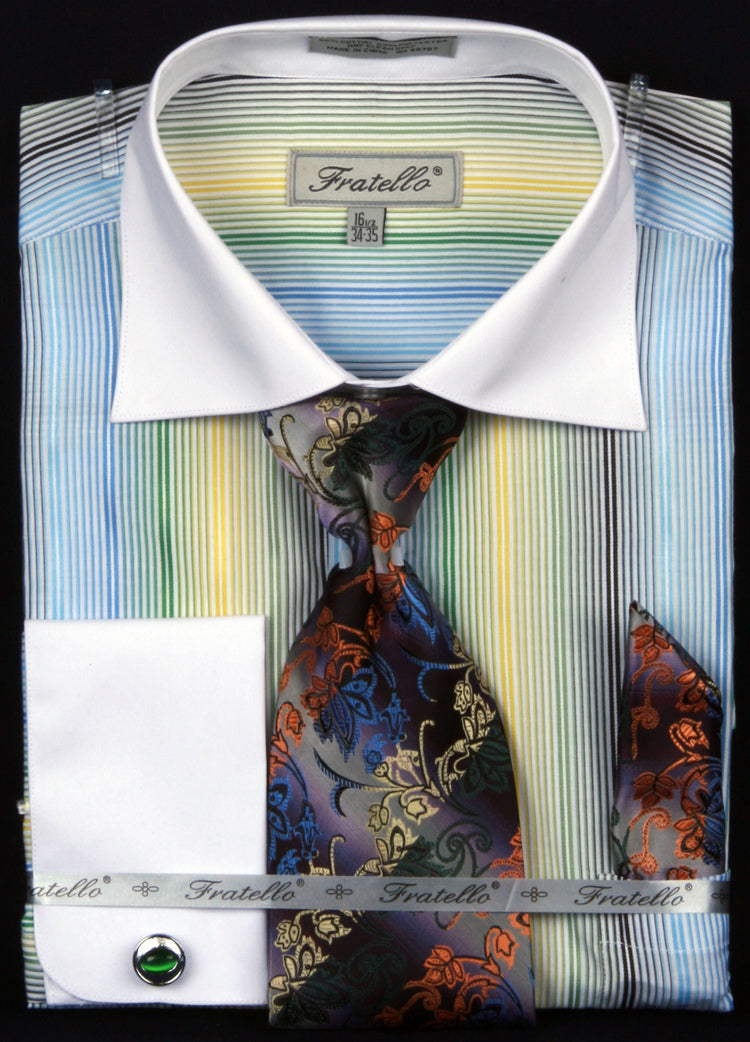 Fratello French Cuff Dress Shirt FRV4122P2 Green