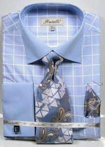 Fratello French Cuff Dress Shirt FRV4132P2 Blue