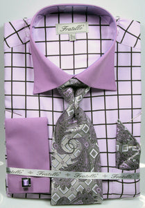 Fratello French Cuff Dress Shirt FRV4132P2 Lavender