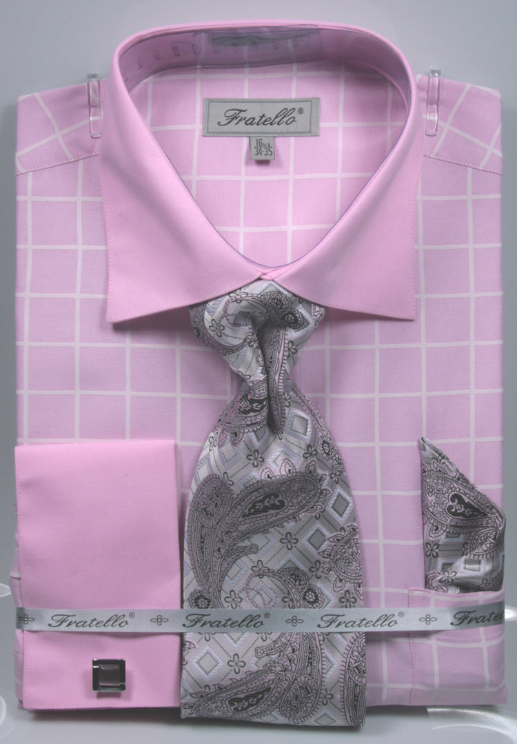 Fratello French Cuff Dress Shirt FRV4132P2 Pink