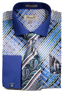 Fratello French Cuff Dress Shirt FRV4134P2 Blue