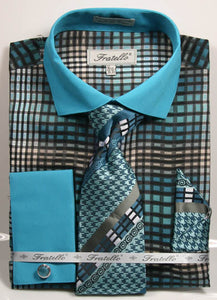 Fratello French Cuff Dress Shirt FRV4137P2 Teal