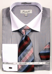 Fratello French Cuff Dress Shirt FRV4140P2 Grey
