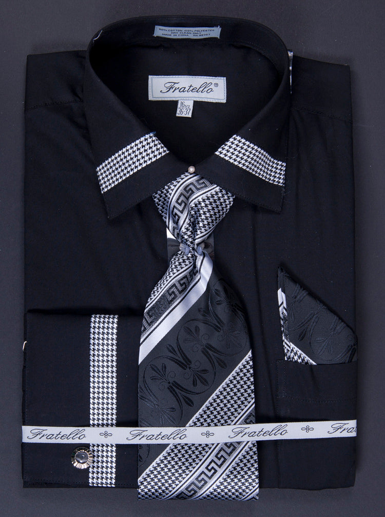 Fratello French Cuff Dress Shirt FRV4109P2 Black