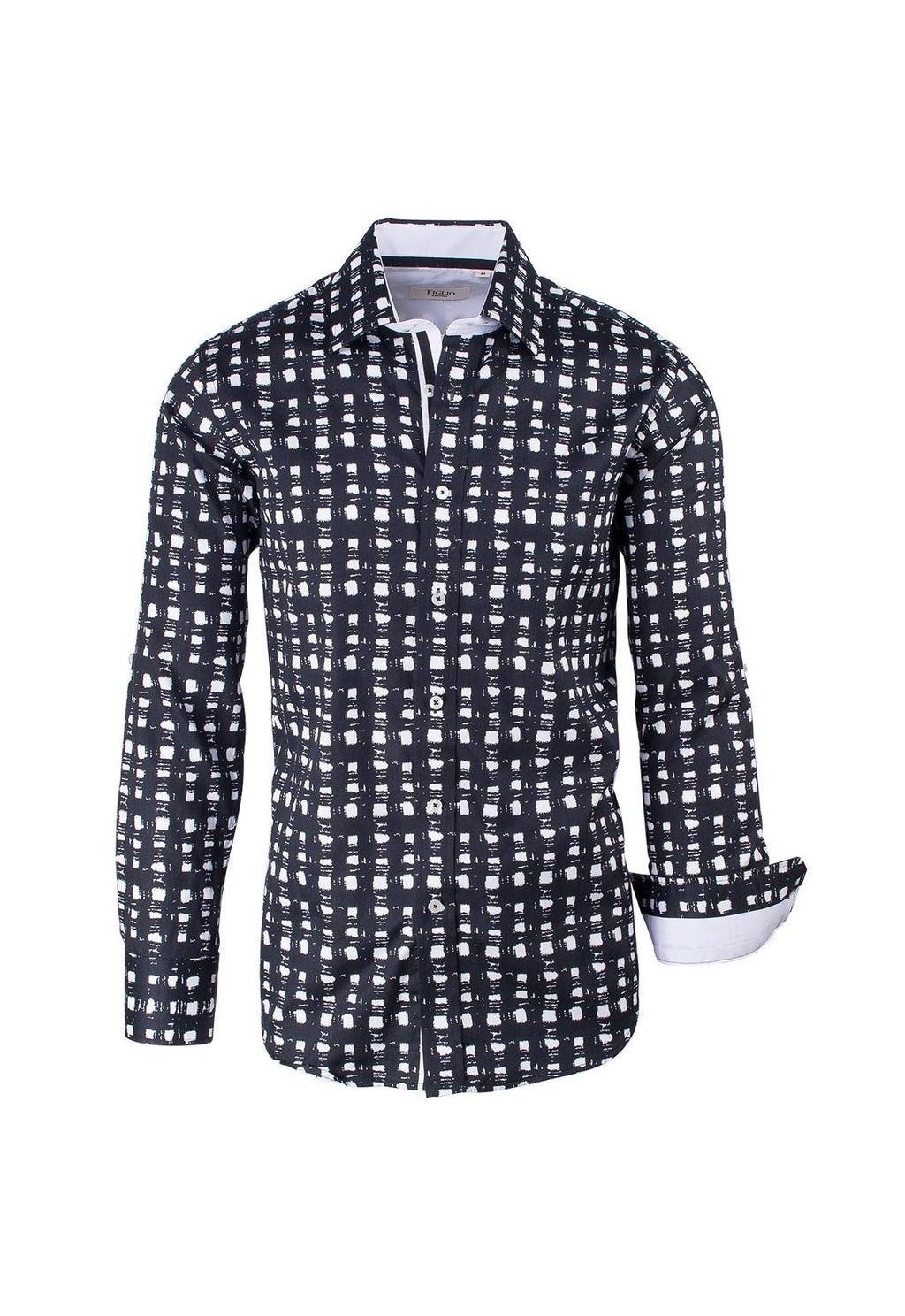 Tiglio Sport Black and White Pattern Modern Fit Sport Shirt FS3000/1