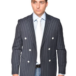 STEVEN LAND | ANTONIO DOUBLE BREASTED BLAZER | SEERSUCKER BLUE PINSTRIPE | SL1570