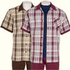 Inserch Giorgio Inserti S/S Check Shirts with Laydown Collar and Matching Pants 744 (2 COLORS)