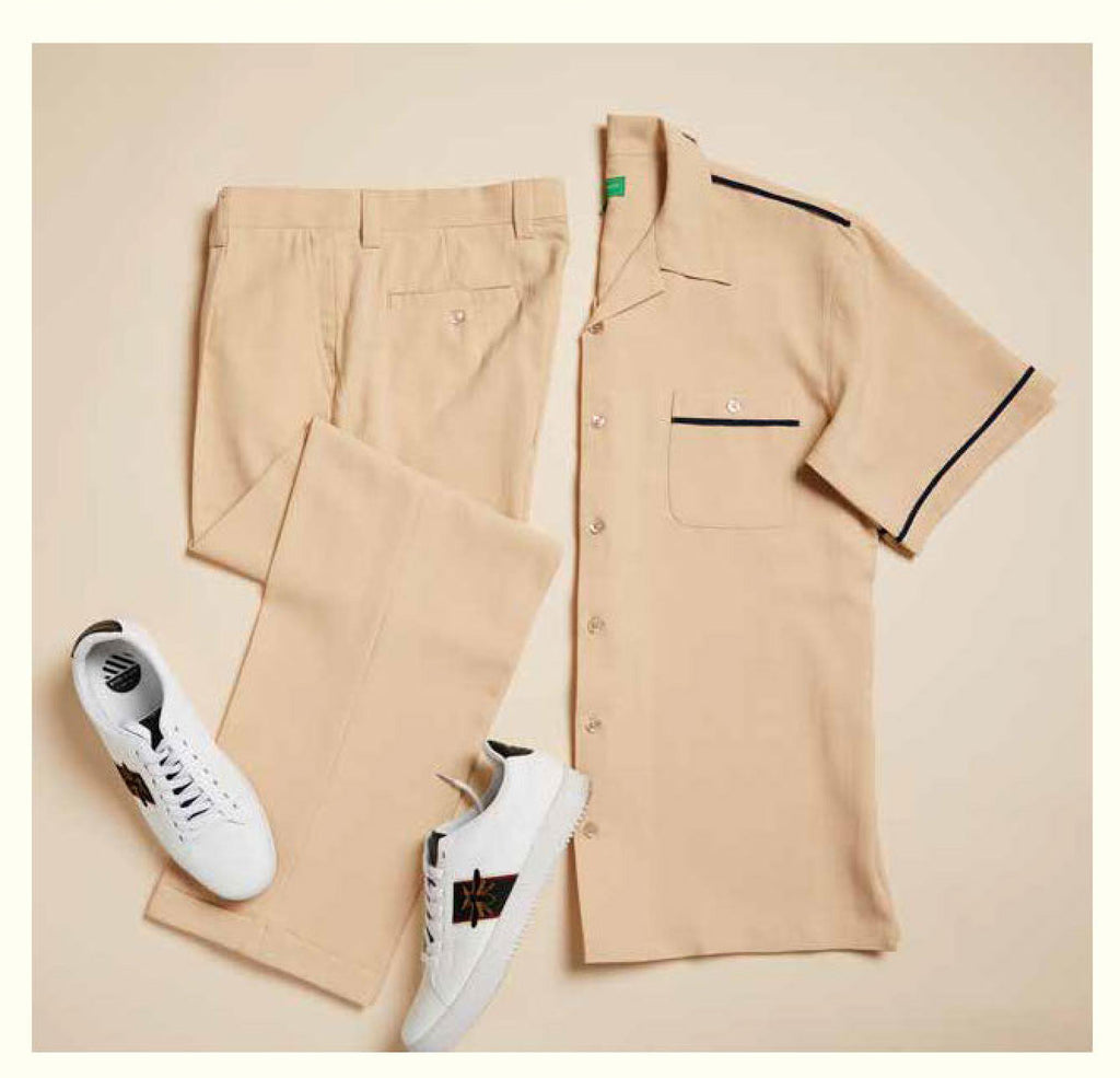 Inserch Giorgio Inserti Two-Pocket S/S Shirt and Matching Pants Set 745-07 Beige