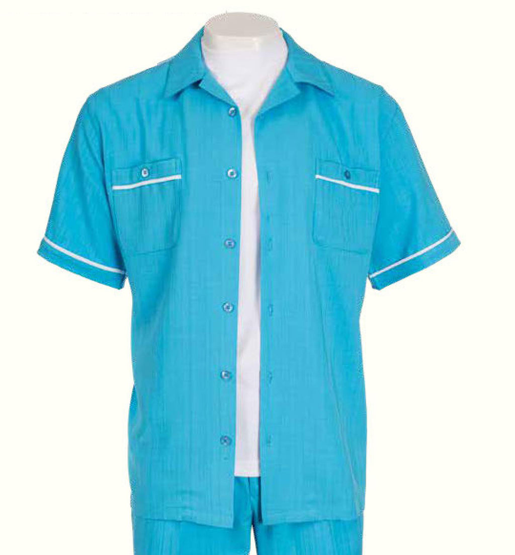 Inserch Giorgio Inserti Two-Pocket S/S Shirt and Matching Pants Set 745-92 Ice Blue