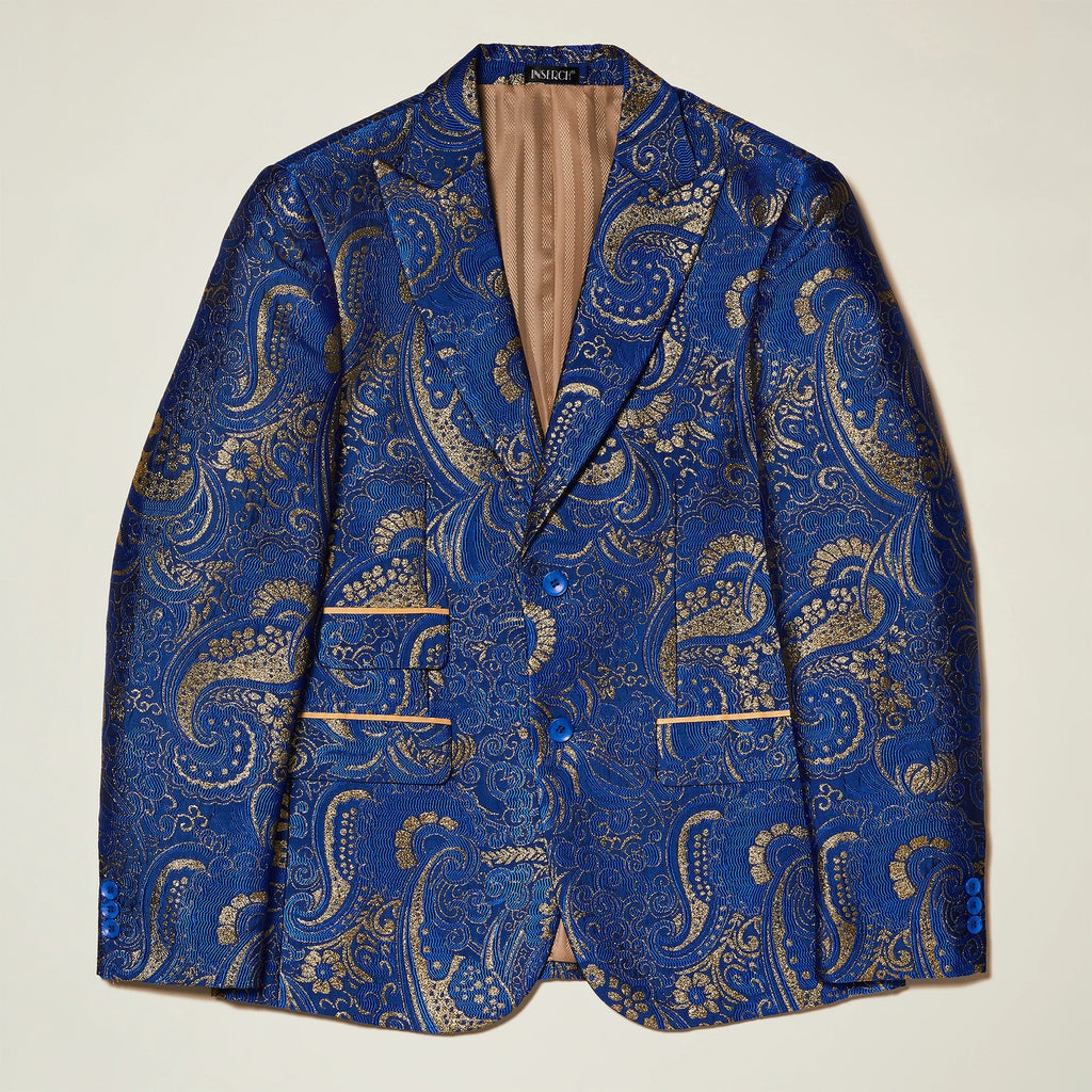 Inserch Peak Lapel Blazer with Metallic Swirl Pattern 582-13 Royal Blue