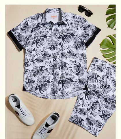 Inserch Premium Short Sleeve Shirt with Matching Short 7096-149 White/Black