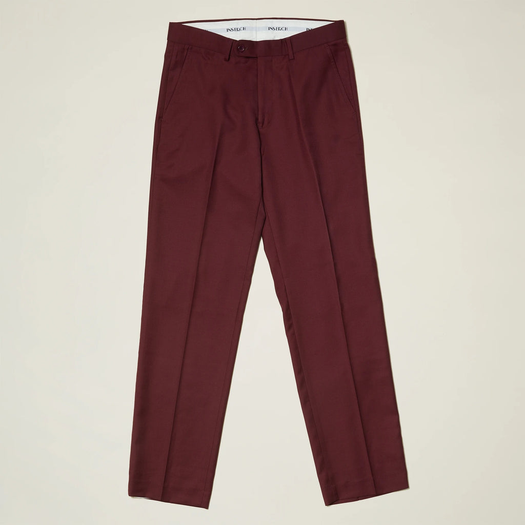 Inserch Premium Wool Flat Front Pants P3118-31 Burgundy
