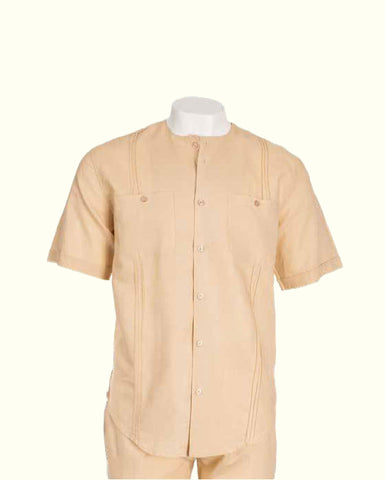 Inserch S/S Solid Linen Scoop Neck Shirt with Matching Pants 703C34-07 Beige