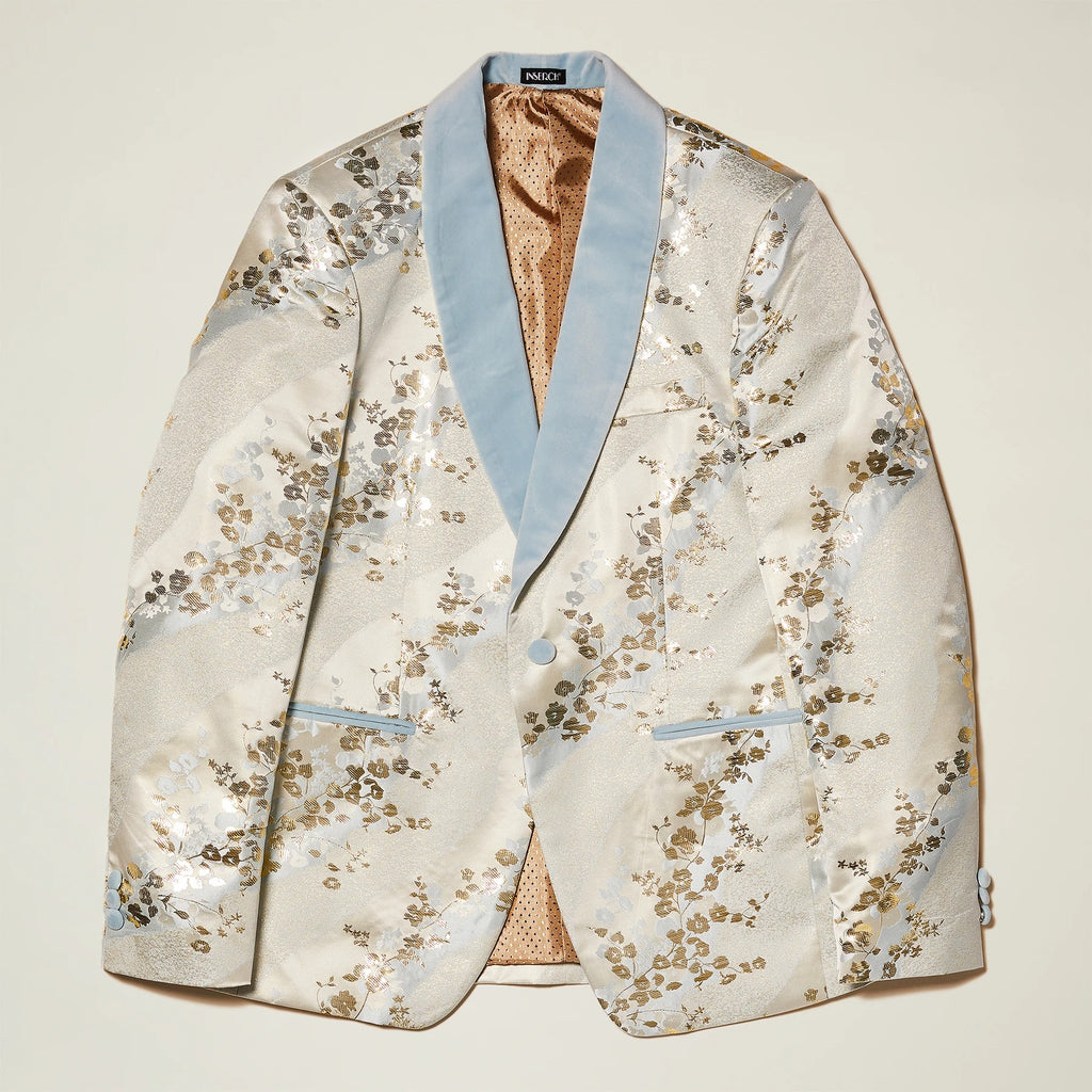 Inserch Shawl Collar Blazer with Japanese Floral Pattern 589-03 Off White