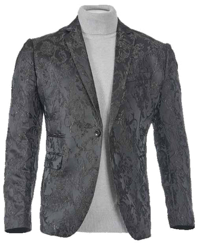Inserch Baroque Pattern Jacquard Blazer 5495-01 Black