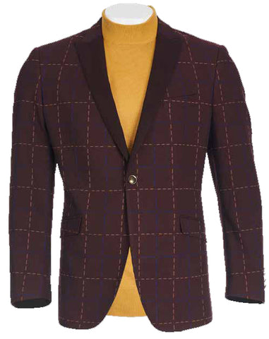 Inserch Check Blazer w/ Contrast Lapel and Satin Trim 559-31 Burgundy