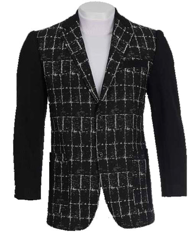 Inserch Check Chenille Blazer 5062-11 Navy