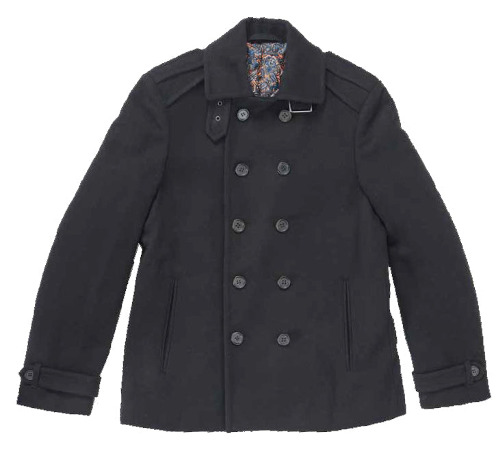 Inserch Double-Breasted Peacoat 593-01 Black