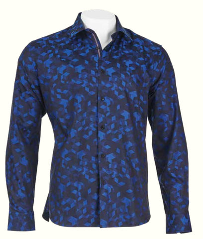 Inserch L/S Cotton Jacquard Shirt w/ Geo Pattern 2650-11 Navy