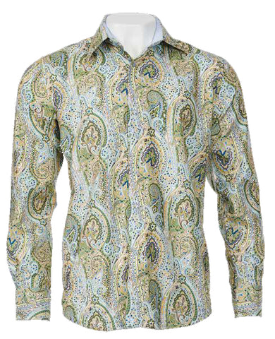 Inserch L/S Printed Shirt w/ Contrast Trim 2628-63 Green