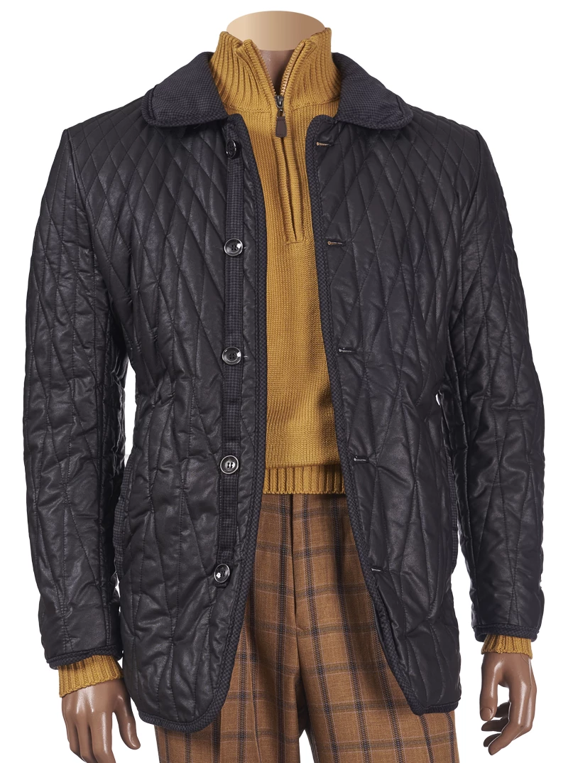 Inserch Quilted Coat with Corduroy Trim 515-01 Black