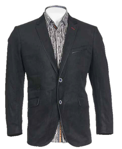 Inserch Velveteen Solid Blazer w/ Leather Piping 543-01 Black