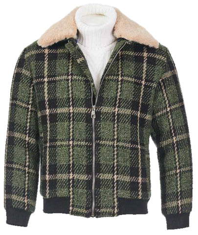 Inserch Wool Bomber Jacket w/ Detachable Real Shearling Lining 580-98 Moss