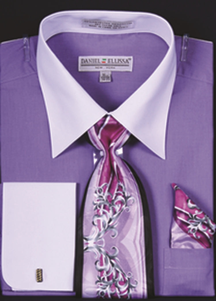 Daniel Ellissa Two Tone French Cuff Dress Shirt DS3006WTPRT Lavender