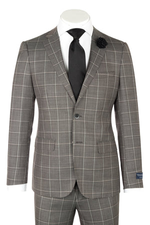 Porto Slim Fit, Taupe Gray windowpane , Pure Wool Suit by GUABELLO Cloth by Canaletto Menswear LG8878F/435/3