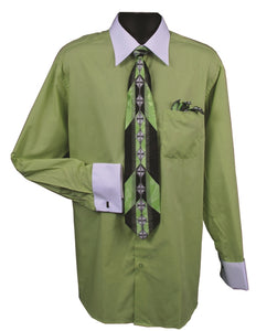 Daniel Ellissa Two Tone French Cuff Dress Shirt DS3006WTPRT Lime