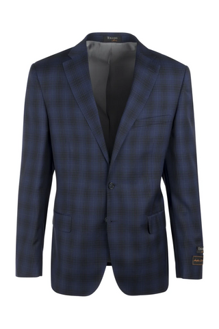 Dolcetto Midnight Blue with Black Windowpane Modern Fit, Pure Wool Jacket by Tiglio Luxe LR74309/1