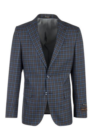Dolcetto Blue Jean with Camel and Brown Checkered Modern Fit, Pure Wool Jacket by Tiglio Luxe LV47862/2