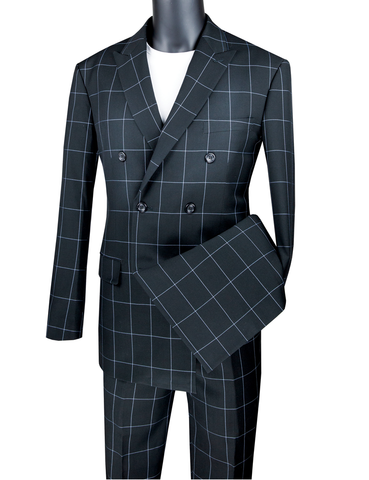 Vinci Modern Fit Double Breasted Windowpane Peak Lapel 2 Piece Suit (Black) MDW-1