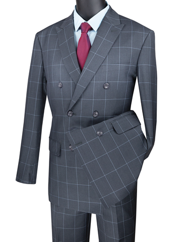 Vinci Modern Fit Double Breasted Windowpane Peak Lapel 2 Piece Suit (Medium Gray) MDW-1