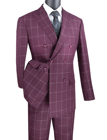 Vinci Modern Fit Double Breasted Windowpane Peak Lapel 2 Piece Suit (Wine) MDW-1