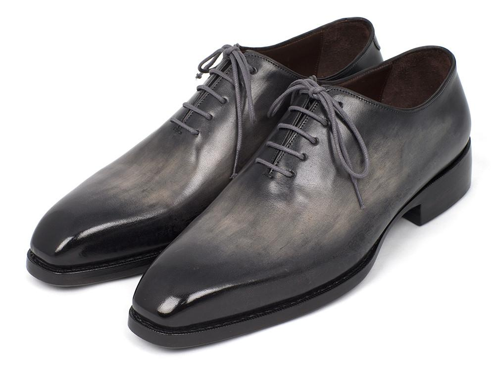 Paul Parkman Goodyear Welted Wholecut Oxfords Gray Black Hand-Painted - 044GRY