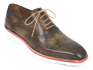Paul Parkman Smart Casual Oxford Shoes Army Green - 184SNK-GRN
