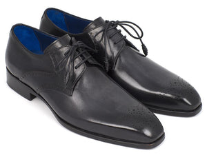 Paul Parkman Black Medallion Toe Derby Shoes - 6584-BLK