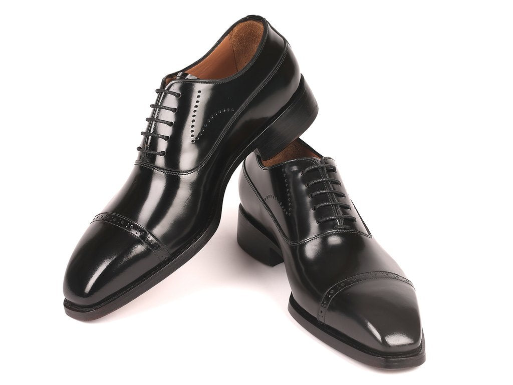 Paul Parkman Goodyear Welted Cap Toe Oxfords Black Polished Leather - 056BLK84
