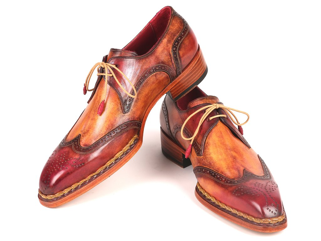 Paul Parkman Norwegian Welted Wingtip Derby Shoes Red & Camel - 8506-CML