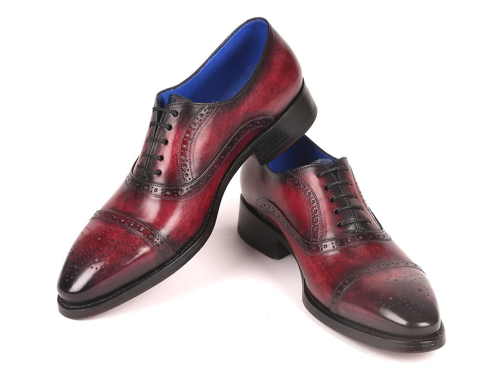 Paul Parkman Bordeaux Burnished Goodyear Welted Cap Toe Oxford Shoes - 79BRD68