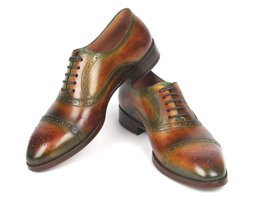 Paul Parkman Cap Toe Oxfords Green & Brown - 266GB79