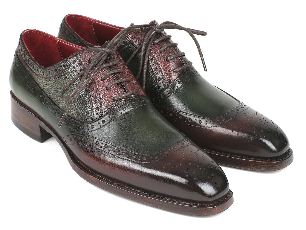 Paul Parkman Goodyear Welted Oxfords Brown & Green (ID#BW926GR)