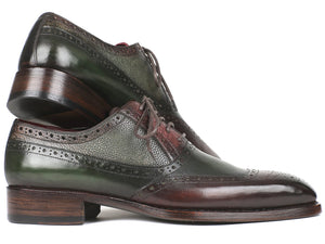 Paul Parkman Goodyear Welted Oxfords Brown & Green - BW926GR