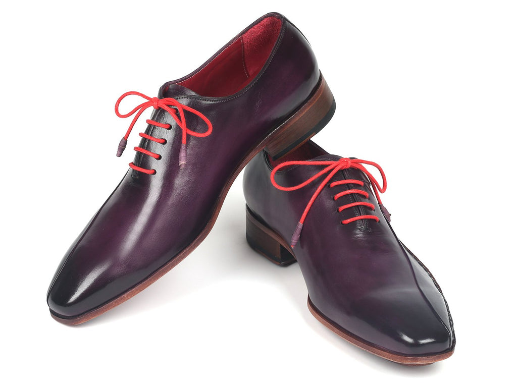 Paul Parkman Purple Leather Oxfords Side Hand-Sewn - 018-PRP