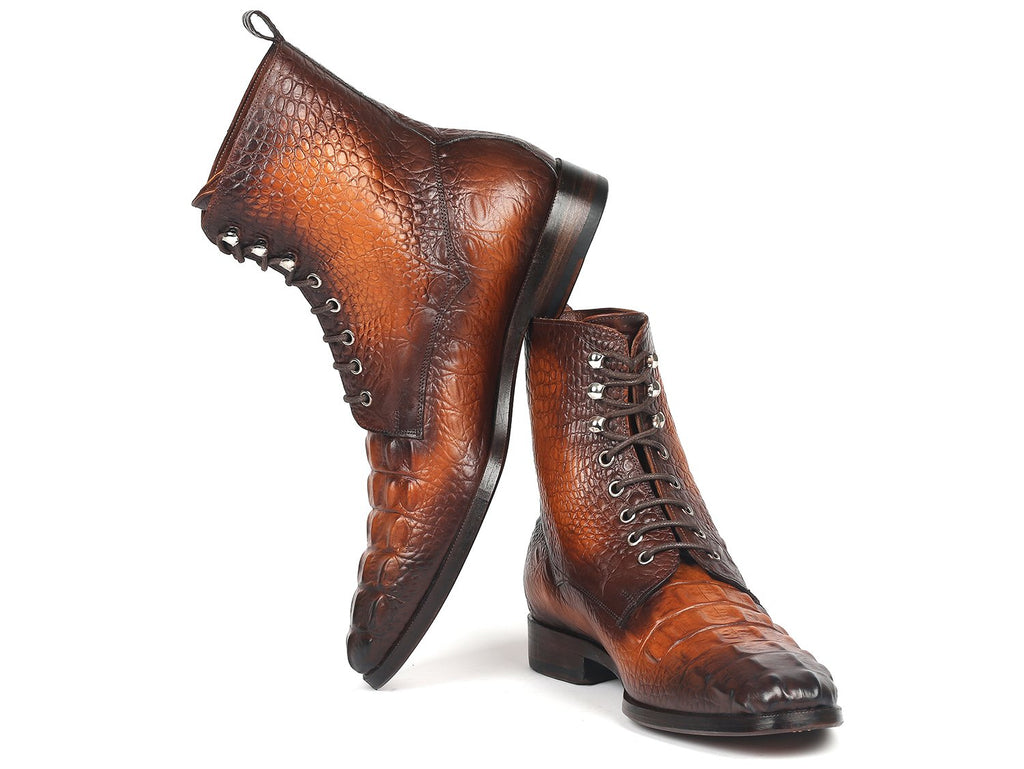 Paul Parkman Brown Croco Embossed Leather Lace-Up Boots - BT744-BRW