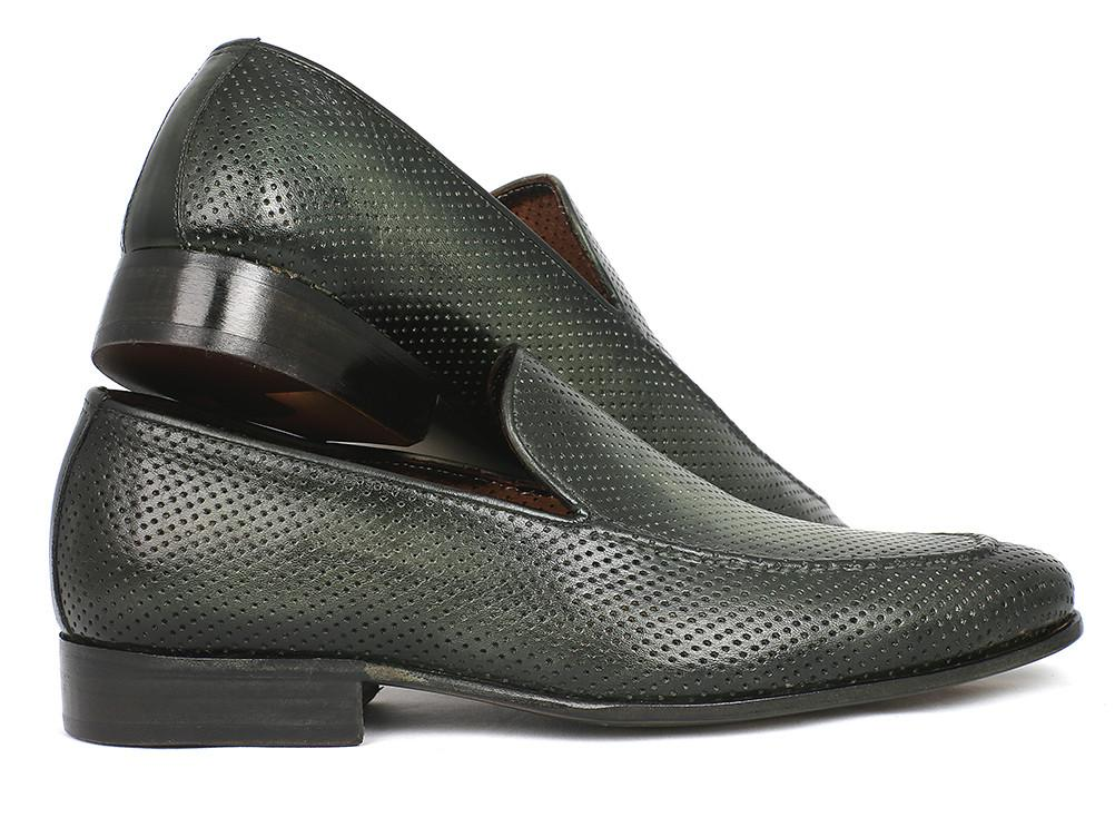 Paul Parkman Perforated Leather Loafers Green - 874-GRN